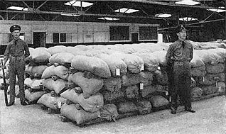 All the hempseed available in the U.S. is stacked in  this Kentuckey warehouse under armed guard. 1942